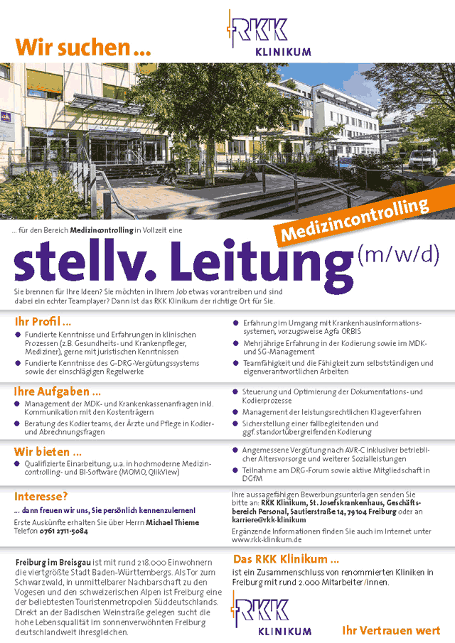 St. Josefskrankenhaus Freiburg: Stv. Leitung Medizincontrolling (m/w/d)