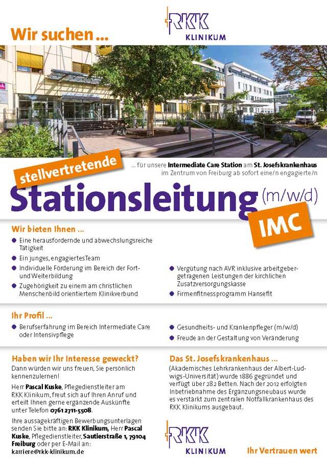 St. Josefskrankenhaus Freiburg: Stv. Stationsleitung IMC (m/w/d)
