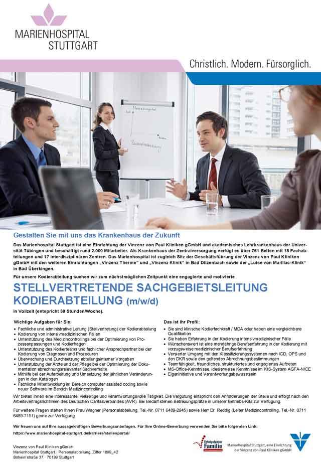 Marienhospital Stuttgart: Stellvertretende Sachgebietsleitung Kodierabteilung (m/w/d)