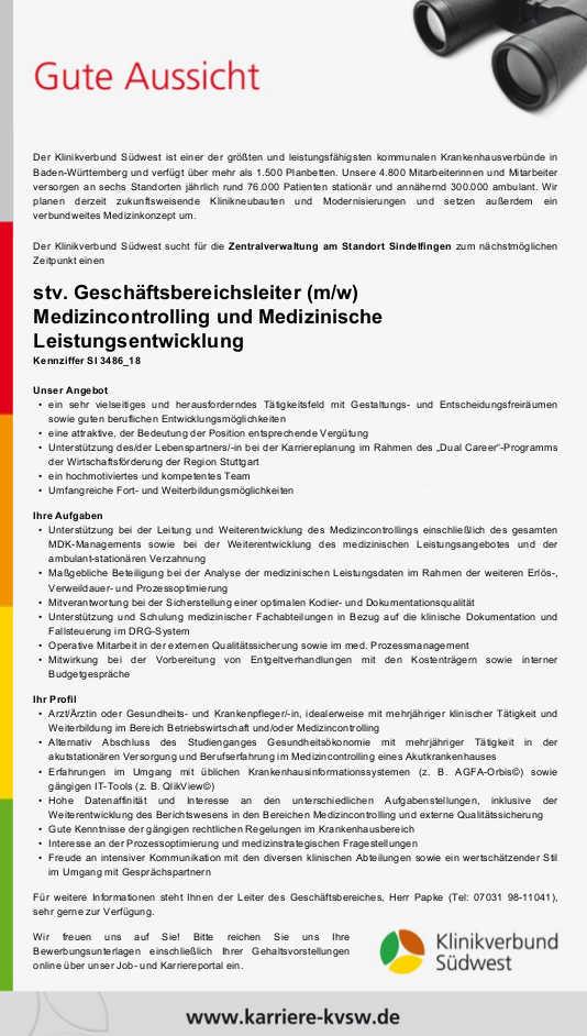 Klinikverbund Südwest, Sindelfingen: Stv. Geschäftsbereichsleiter Medizincontrolling und Medizinische Leistungsentwicklung (m/w)