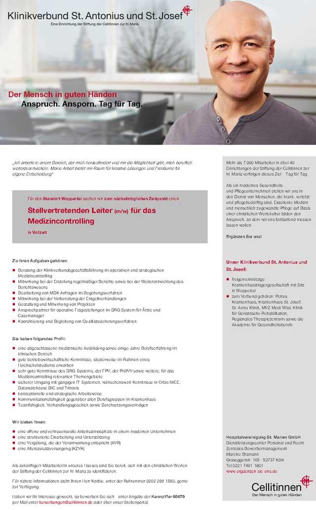 Hospitalvereinigung St. Marien GmbH, Wuppertal: Stellv. Leiter Medizincontrolling (m/w)