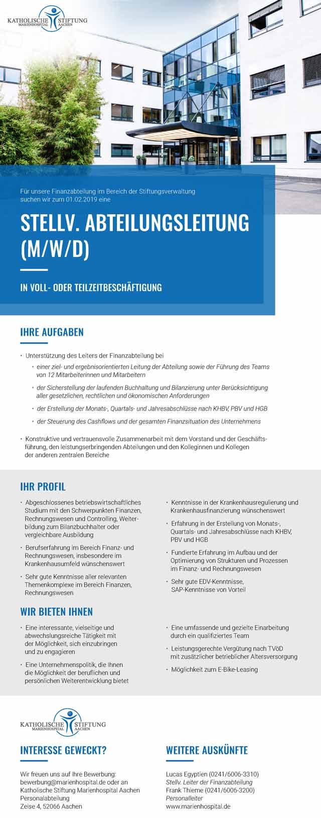 Katholische Stiftung Marienhospital Aachen: stellv. Abteilungsleitung Finanzen (m/w/d)