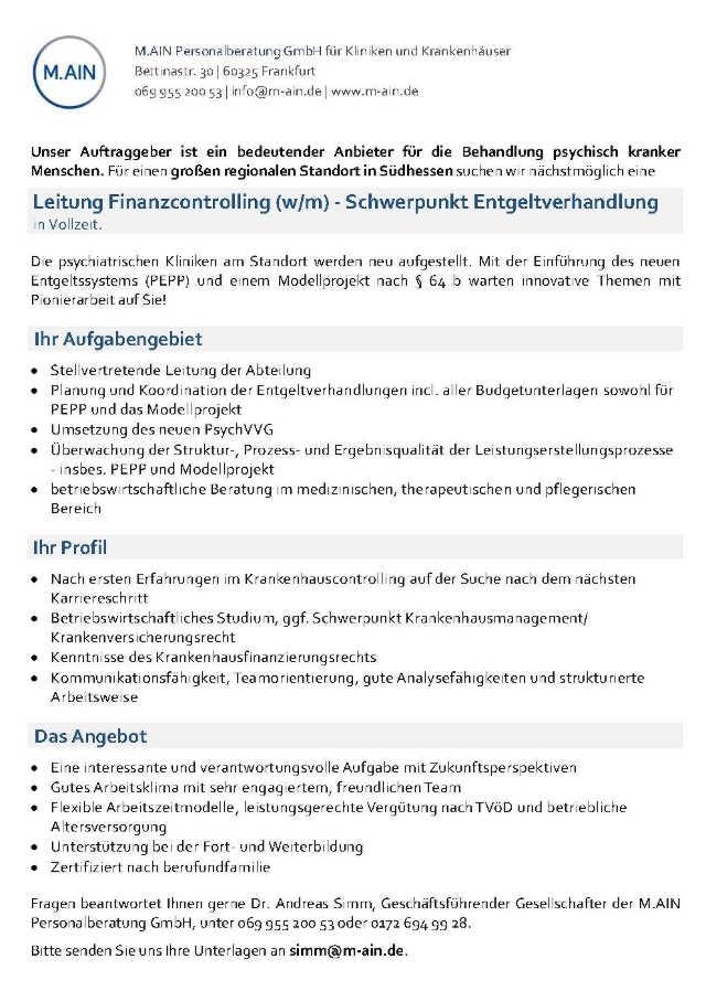 M.AIN Personalberatung GmbH, Frankfurt: stellvertretende Abteilungsleitung Finanzcontrolling (w/m)