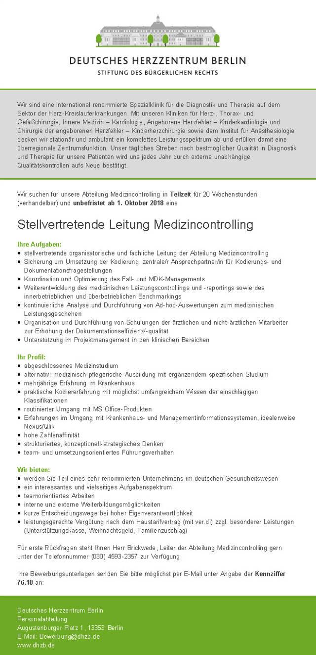 Deutsches Herzzentrum Berlin: Stellvertretende Leitung Medizincontrolling (m/w)