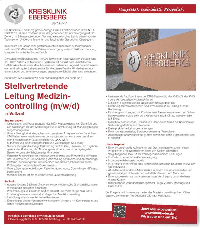 Kreisklinik Ebersberg: Stv. Leitung Medizincontrolling (m/w/d)