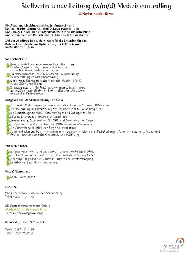 Klinikum Westmünsterland GmbH: Stellvertretende Leitung Medizincontrolling (m/w/d)