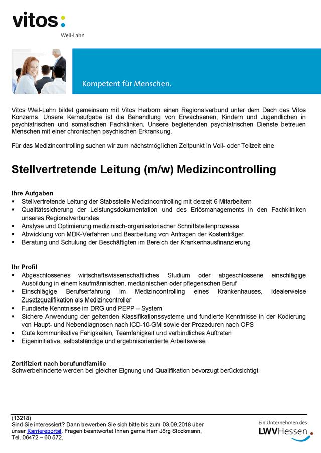 Vitos Weil-Lahn, Weilmünster: Stellvertretende Leitung Medizincontrolling (m/w)