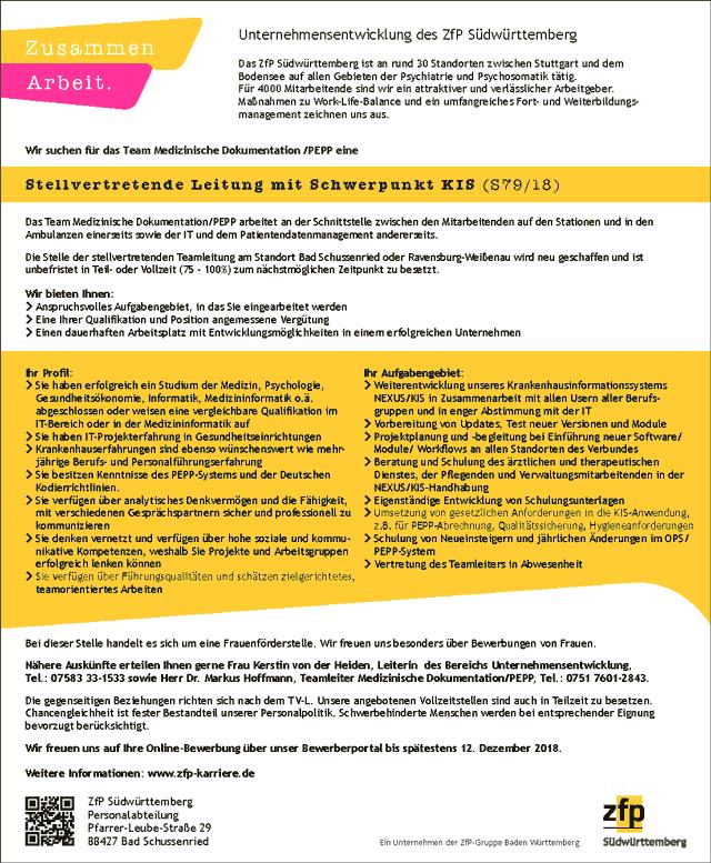ZfP Südwürttemberg, Bad Schussenried: Stellvertretende Leitung Medizinische Dokumentation / PEPP (w/m)