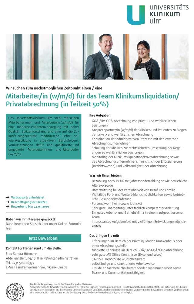 Universitätsklinikum Ulm: Mitarbeiter f.d. Team Klinikumsliquidation / Privatabrechnung (w/m/d)