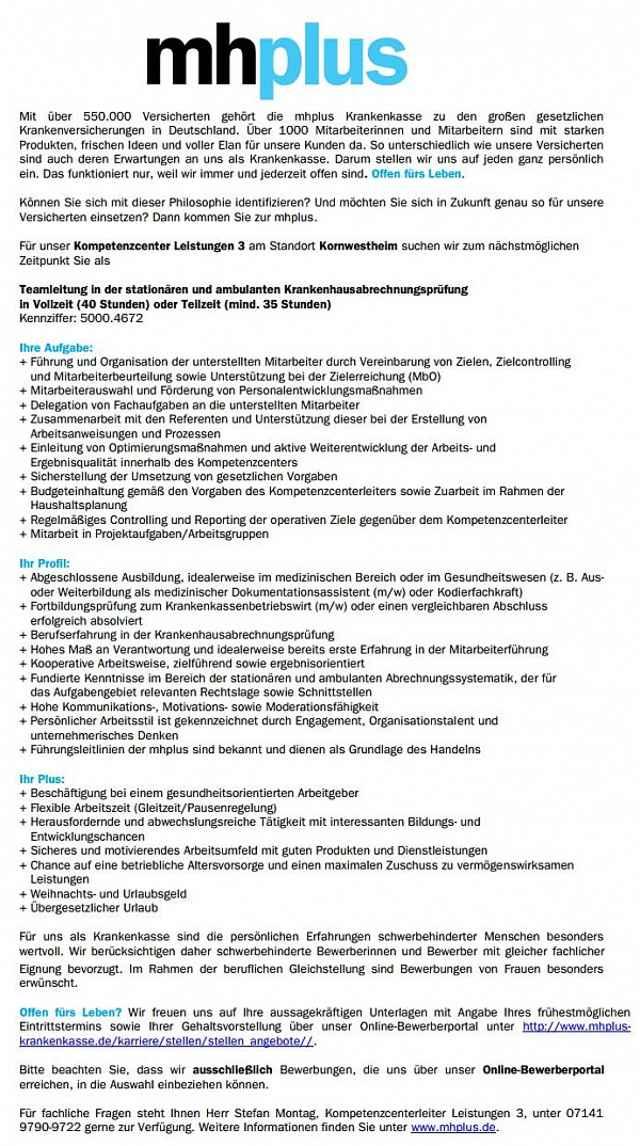 mhplus Betriebskrankenkasse, Ludwigsburg: Teamleitung Krankenhausabrechnungsprüfung (m/w)