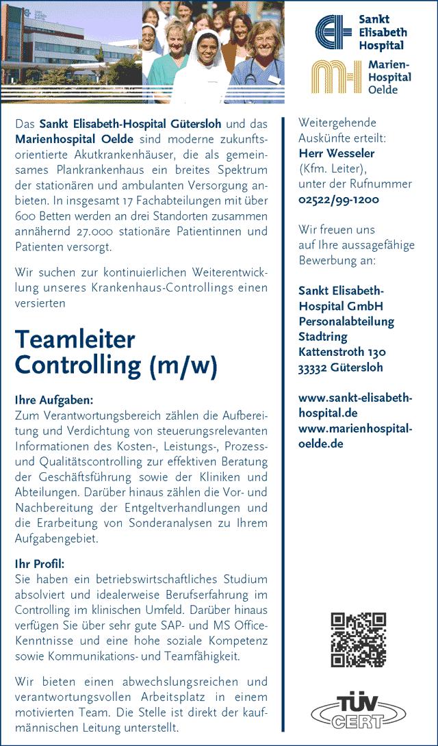 Sankt Elisabeth-Hospital GmbH, Gütersoh: Teamleiter Controlling (m/w)