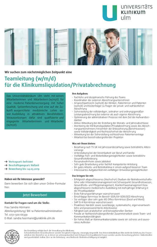 Universitätsklinikum Ulm: Teamleitung f.d. Klinikumsliquidation / Privatabrechnung (w/m/d)