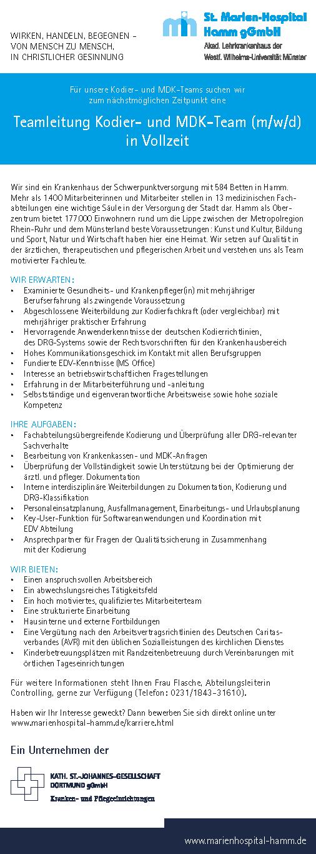 St. Marien-Hospital Hamm gGmbH: Teamleitung Kodier- und MDK-Team (m/w/d)