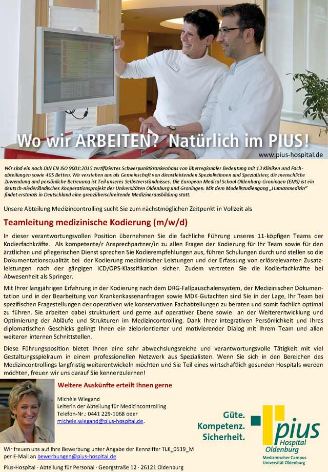Pius-Hospital Oldenburg: Teamleitung medizinische Kodierung (m/w/d)