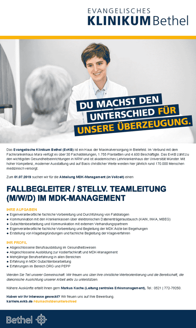 Evangelisches Klinikum Bethel: Fallbegleiter / stellv. Teamleitung im MDK-Management (m/w/d)