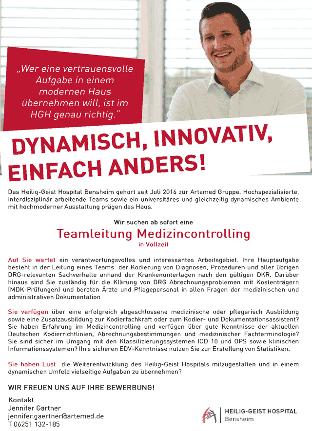 Heilig-Geist Hospital Bensheim: Teamleitung Medizincontrolling (m/w)