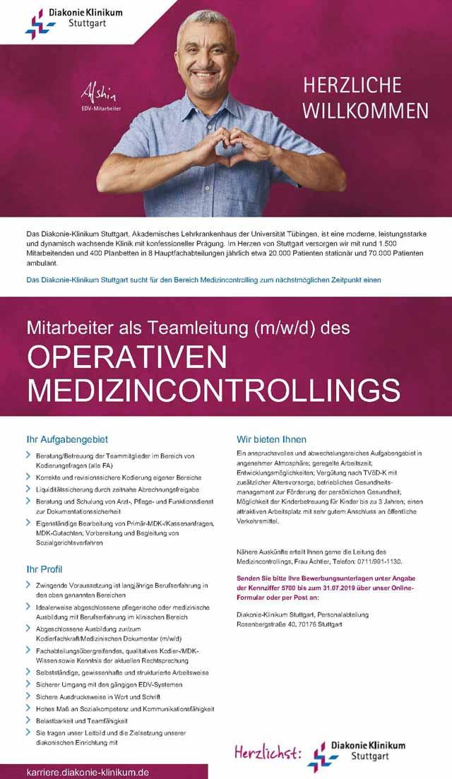 Diakonie-Klinikum Stuttgart: Mitarbeiter als Teamleitung des operativen Medizincontrollings (m/w/d)