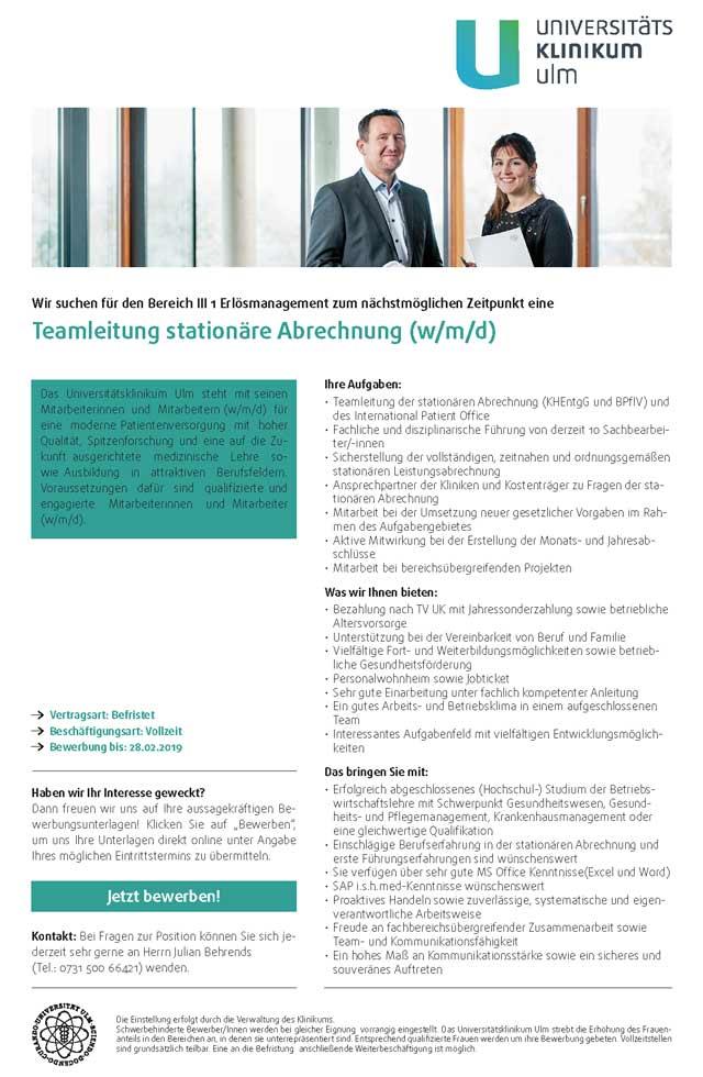 Universitätsklinikum Ulm: Teamleitung stationäre Abrechnung (w/m/d)