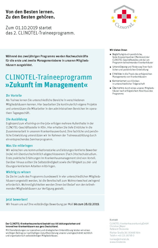 CLINOTEL Krankenhausverbund gGmbH: 2. CLINOTEL-Traineeprogramm