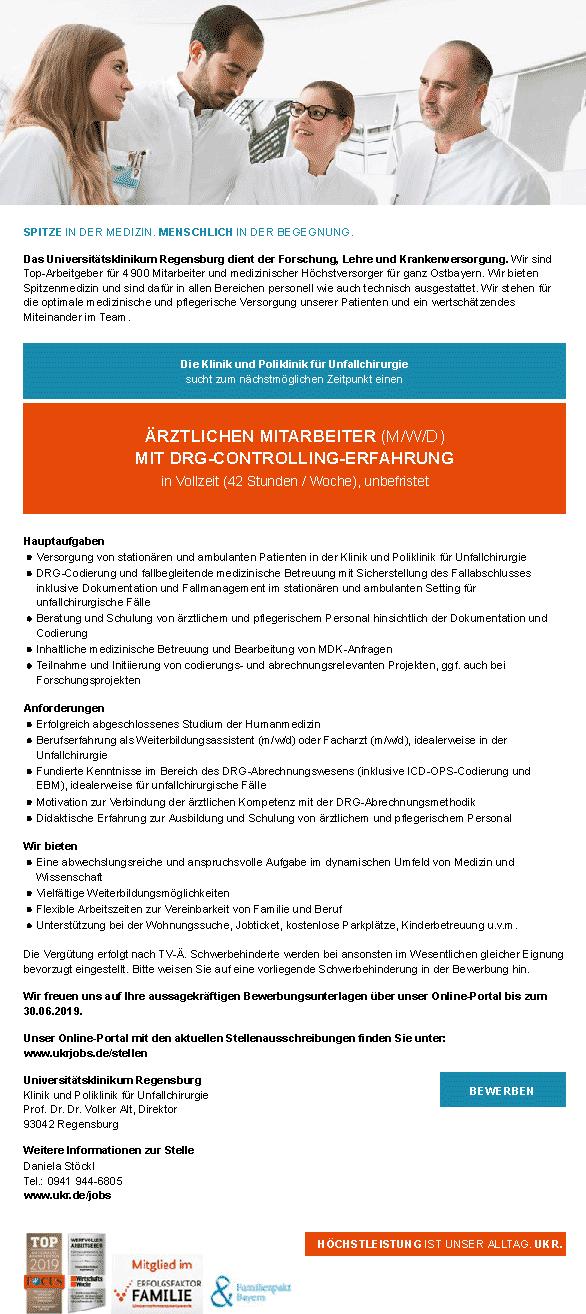 Universitätsklinikum Regensburg: Ärztlicher Mitarbeiter (m/w/d)