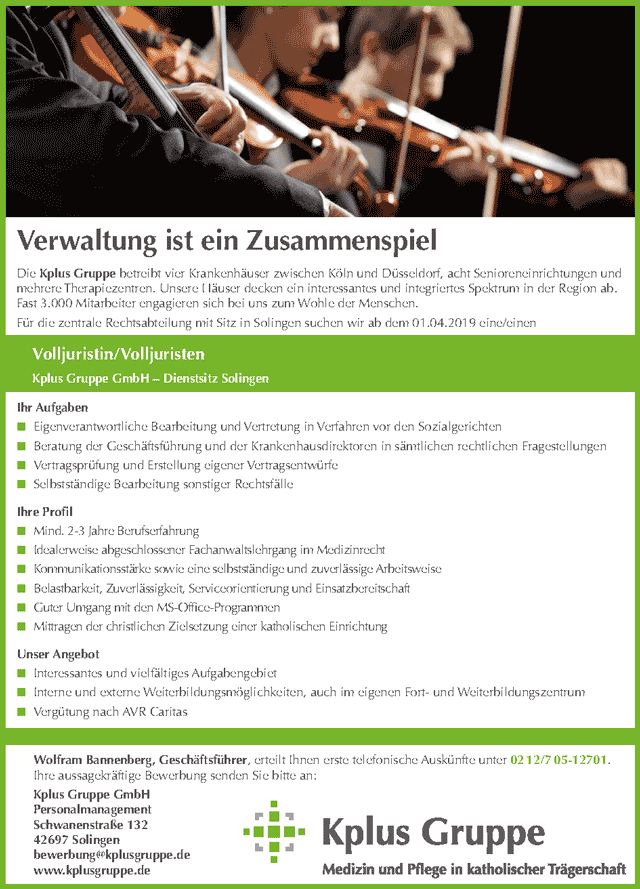 Kplus Gruppe GmbH, Solingen: Volljurist (m/w)