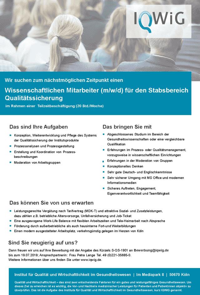 Institut für Qualität und Wirtschaftlichkeit im Gesundheitswesen (IQWIG) Köln: Wissenschaftlicher Mitarbeiter (m/w/d)