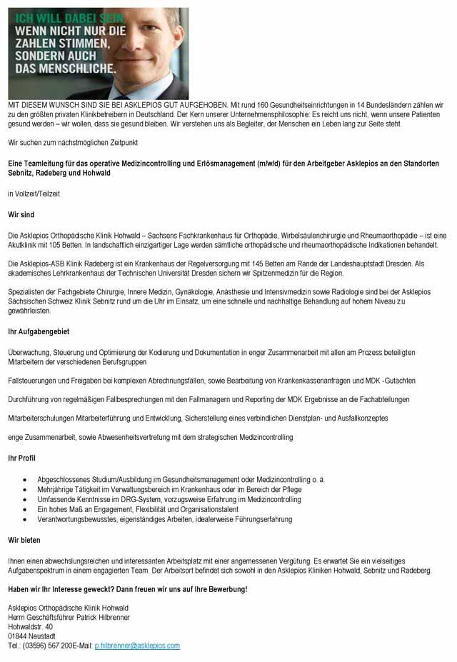 Asklepios Orthopädische Klinik Hohwald: Teamleitung operatives Medizincontrolling / Erlösmanagement (m/w/d)