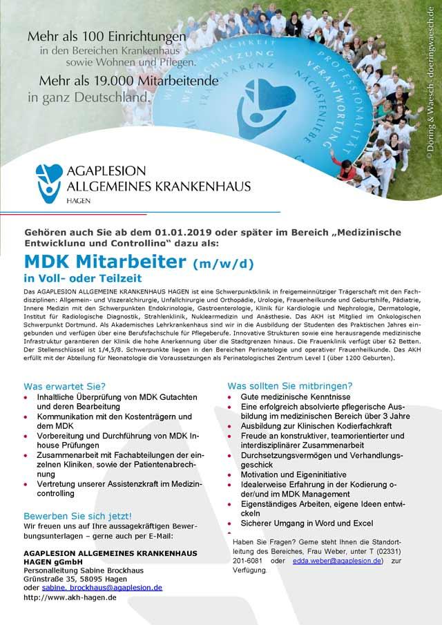 AGAPLESION Allgemeines Krankenhaus Hagen gGmbH: MDK Mitarbeiter (m/w/d)