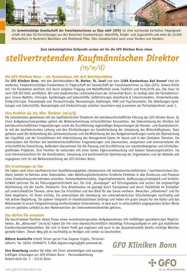 GFO Kliniken Bonn: stellvertretender Kaufmännischer Direktor (m/w/d)