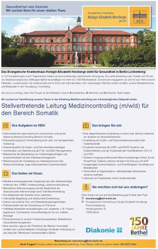 Evangelisches Krankenhaus Königin Elisabeth Herzberge Berlin: Stellv. Leitung Medizincontrolling (m/w/d)