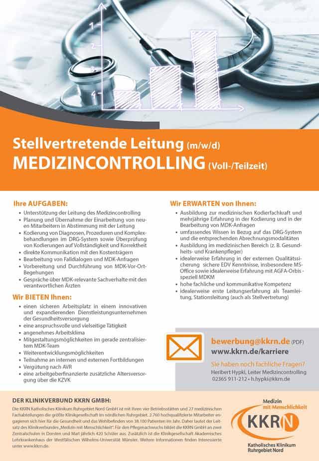 Katholisches Klinikum Ruhrgebiet Nord GmbH: Stellvertretende Leitung Medizincontrolling (m/w/d)