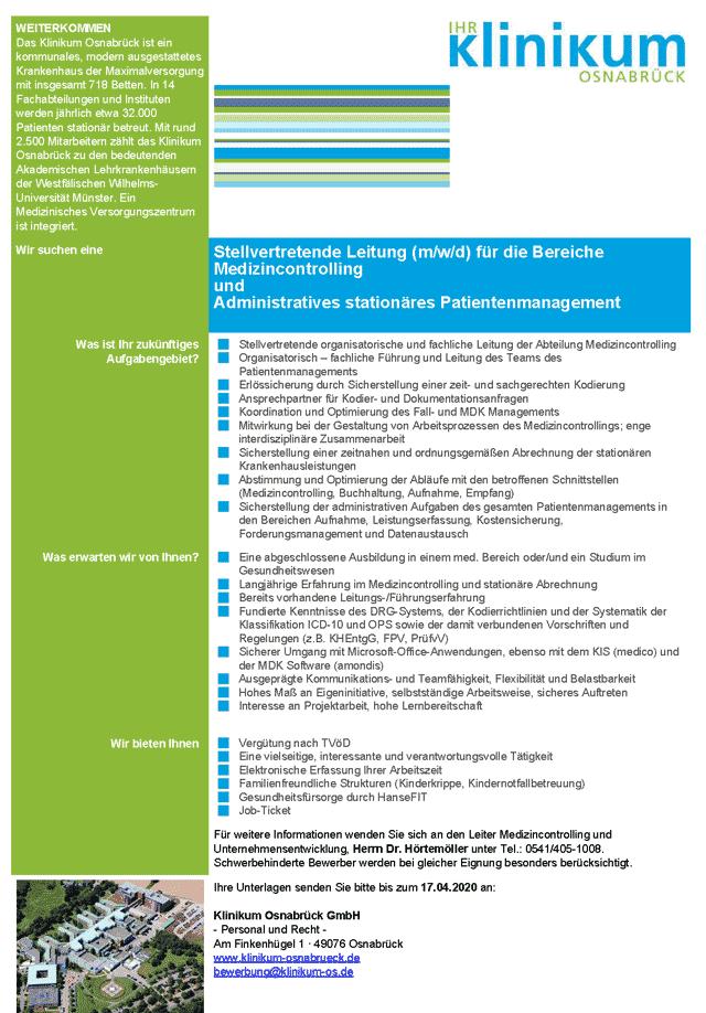 Klinikum Osnabrück GmbH: Stellvertretende Leitung für die Bereiche Medizincontrolling und Administratives stationäres Patientenmanagement (m/w/d)