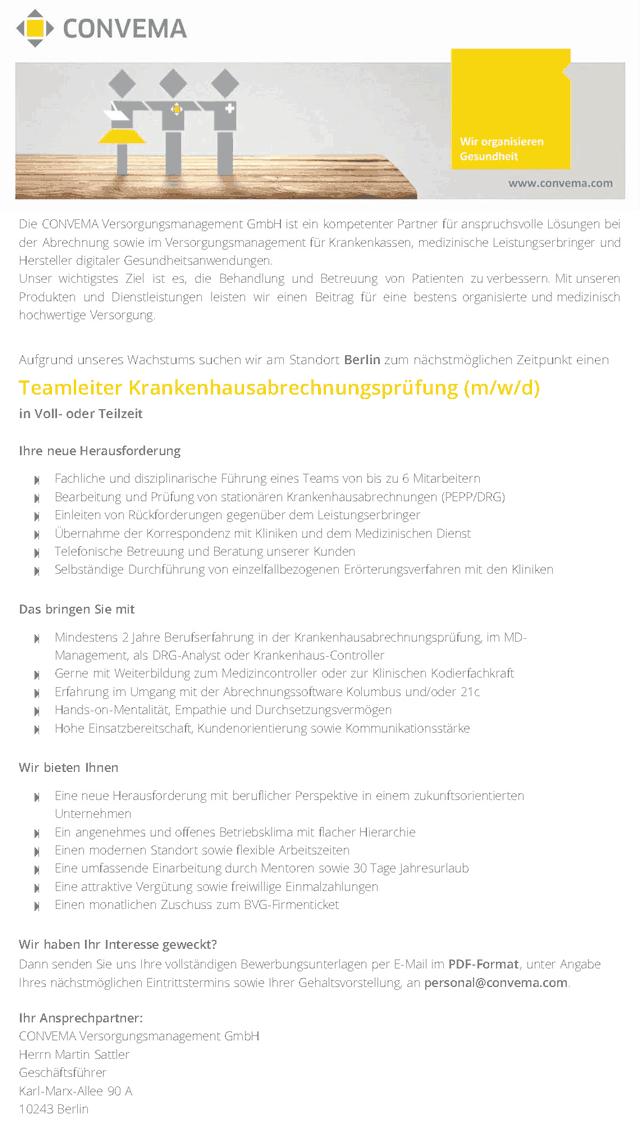 CONVEMA Versorgungsmanagement GmbH: Teamleiter Krankenhausabrechnungsprüfung (m/w/d)