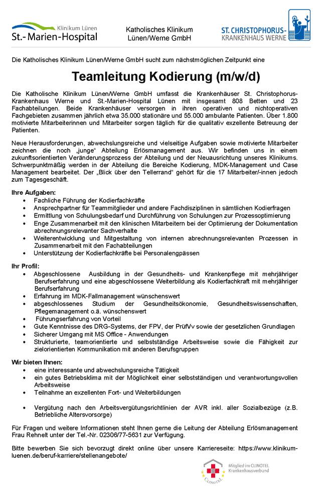 Katholisches Klinikum Lünen / Werne GmbH: Teamleitung Kodierung (m/w/d)