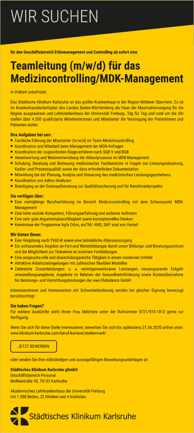 Städtisches Klinikum Karlsruhe gGmbH: Teamleitung  Medizincontrolling / MDK-Management (m/w/d)