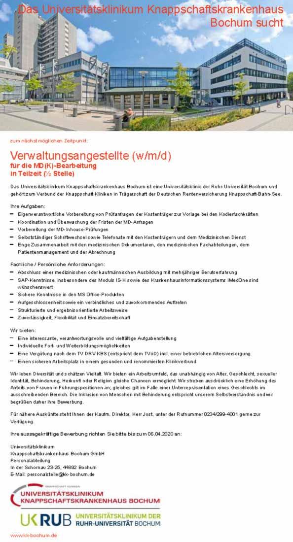 Universitätsklinikum Knappschaftskrankenhaus Bochum GmbH: Verwaltungsmitarbeiter (w/m/d)