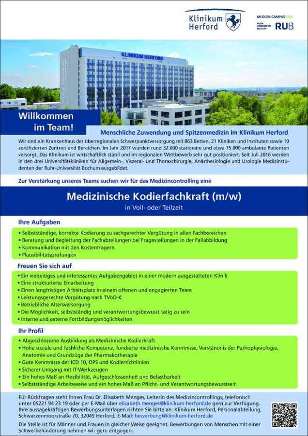 Medizinische Kodierfachkraft Mw Klinikum Herford Mydrg Forum