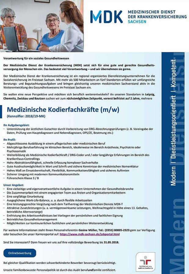 Medizinische Kodierfachkräfte (m/w): MDK - Medizinischer Dienst der ...