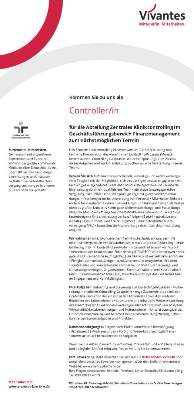 controller mw vivantes netzwerk fr gesundheit gmbh berlin mydrg forum medizincontrolling kodierung krankenhausabrechnung - Bewerbung Controlling