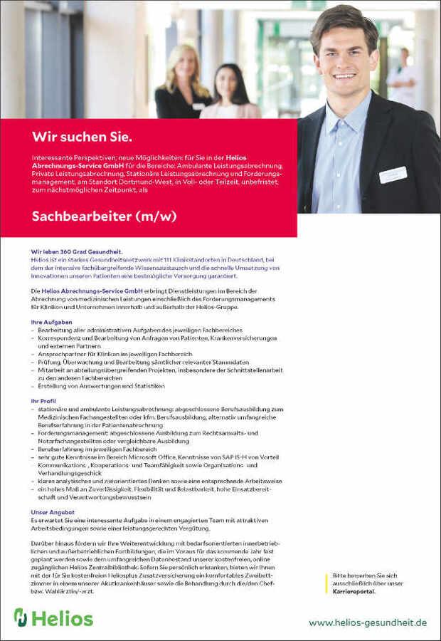 Sachbearbeiter (m/w): Helios Abrechnungs-Service GmbH - myDRG ...