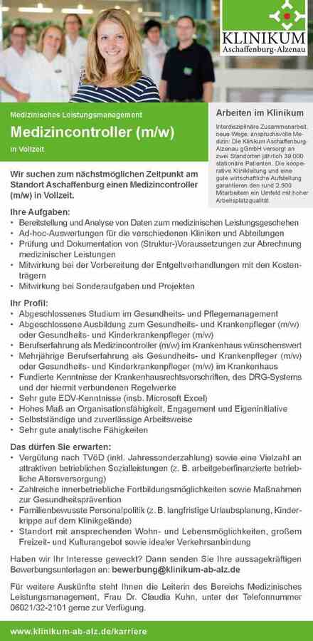 Medizincontroller: Klinikum Aschaffenburg-Alzenau gGmbH - myDRG ...