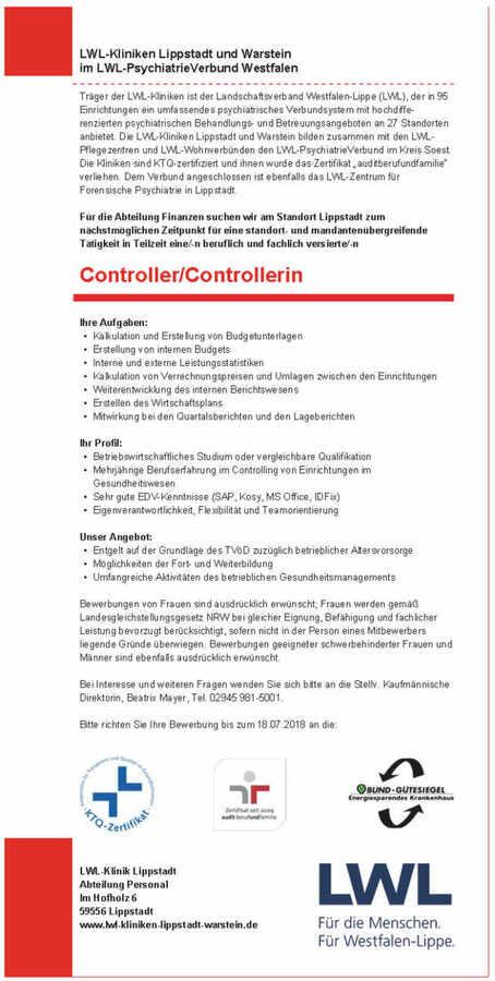 controller mw lwl kliniken lippstadt und warstein - Bewerbung Controlling