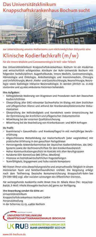 klinische kodierfachkraft universittsklinikum knappschaftskrankenhaus bochum - Uni Bochum Bewerbung