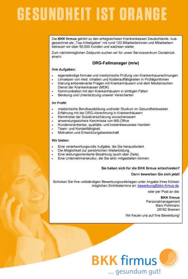 DRG-Fallmanager (m/w): BKK firmus, Osnabrück - myDRG - Forum ...