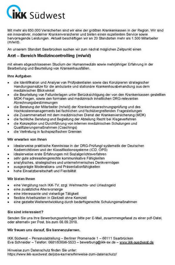 Arzt Bereich Medizincontrolling Ikk Südwest Saarbrücken Mydrg