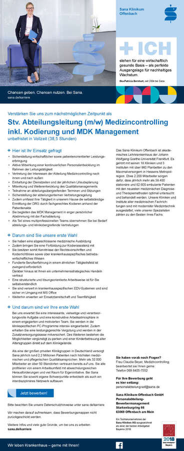Stv. Abteilungsleitung Medizincontrolling: Sana Klinikum Offenbach ...