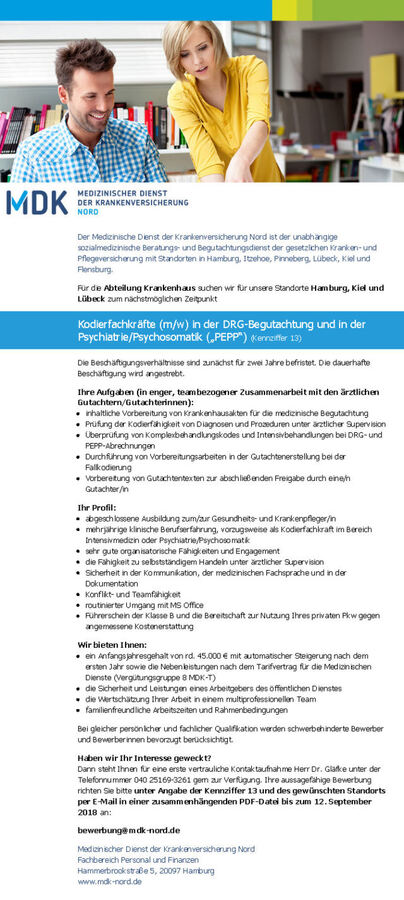 Kodierfachkräfte (m/w): MDK Nord, Hamburg - myDRG - Forum ...