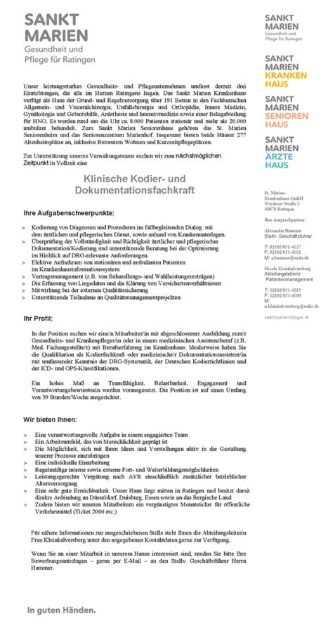 Klinische Kodier- und Dokumentationsfachkraft: St. Marien ...