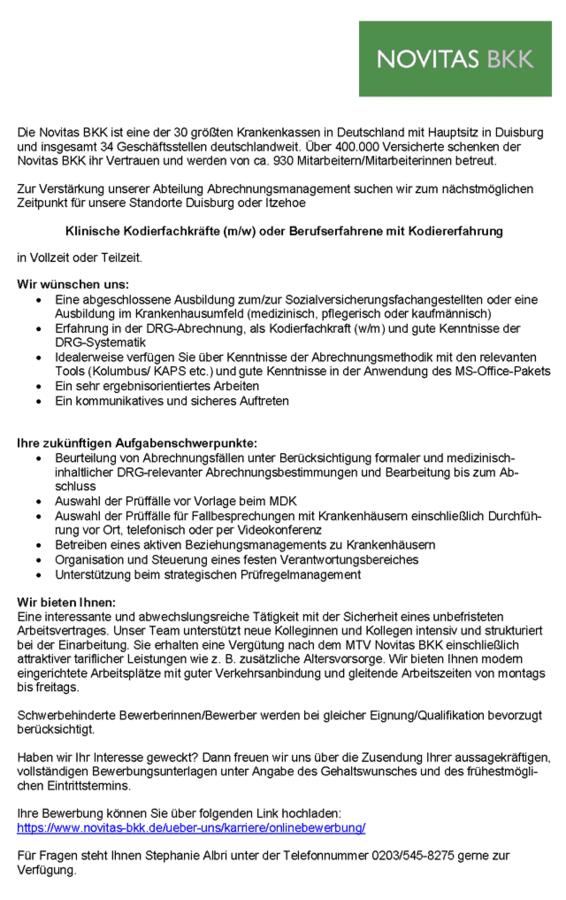 Klinische Kodierfachkräfte: Novitas BKK, Duisburg - myDRG - Forum ...