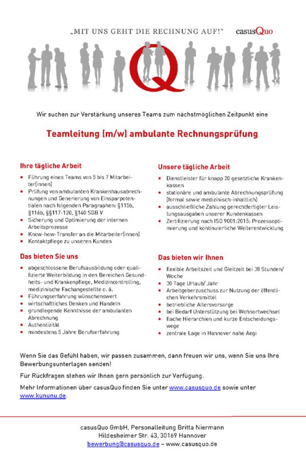 Teamleitung ambulante Rechnungsprüfung: casusQuo GmbH Hannover ...